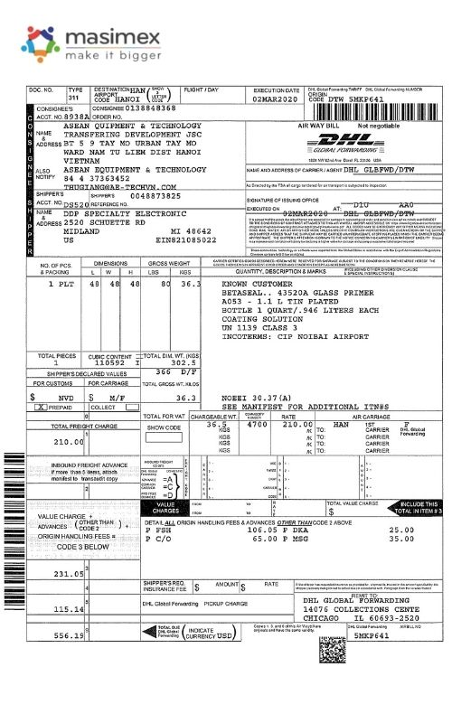 Một chứng từ vận đơn hàng không AWB điển hình